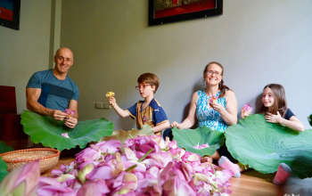 Paul family with lotus flower